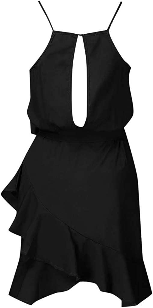 Toamen Dot Print Boho Spaghetti Strap Sleeveless Beach Party Cocktail Dress Sundress Womens Summer Dresses