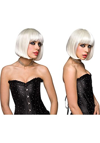 [White Wig for Women Short Hair Snow Platinum Blonde Bob Hairstyle Synthetic Lady] (Half Doll Half Zombie Costume)