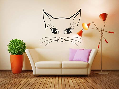 Vinyl Sticker Cat Face Kitten Kitty Pet Funny Sweet Girly Poster Kids Baby Boy Girl Nursery Mural Decal Wall Art Decor SA2390 ()