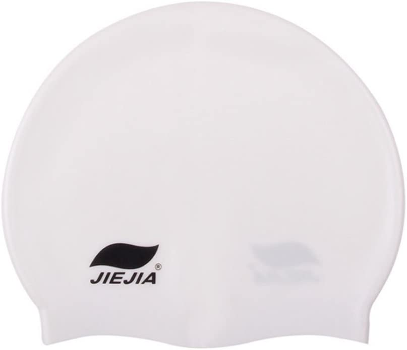 Ocamo Waterproof Silicone Swim Cap for Women and Men Light Blue white