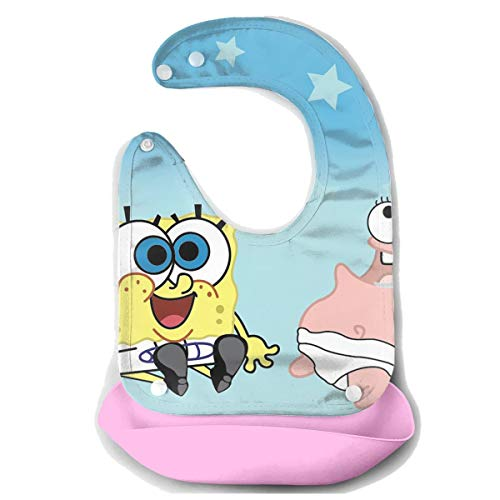 Baby Bib Spongebob and Patrick Waterproof Feeding Bibs for Babies and Toddlers with Comfort-Fit Fabric Neck Pink ()