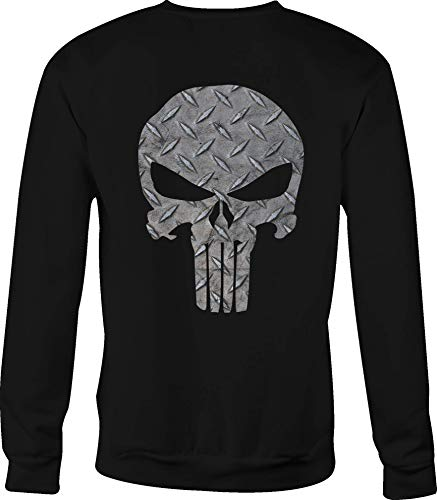 Crewneck Sweatshirt Steel Diamond Plate American Patriot Punisher Skull - Small Black