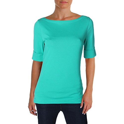 Lauren Cotton Blouse (Lauren Ralph Lauren Womens Judy Cotton Boat-Neck Casual Top Green M)