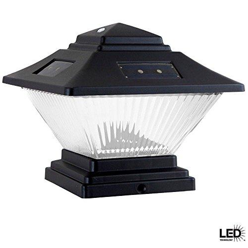 (Black Dual Mount Solar LED Post Cap Lights(2-Pack))