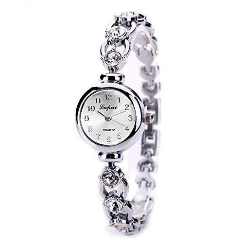 Crystal Silver-Tone Bangle Watch,Londony ✡ Women's Stainless Steel Petite Vintage Inspired Crystal Bracelet Watch