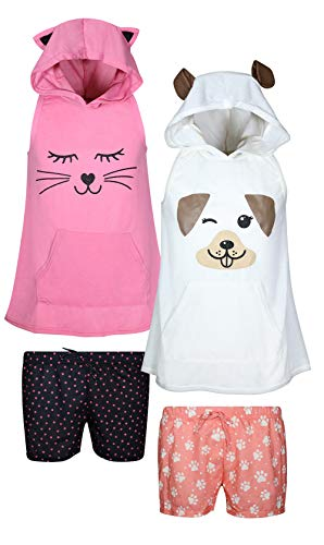 dELiA*s Girls 4-Piece Summer Pajama Short Set with Animal Charcater Hood, Cat/Dog, Size 5/6'