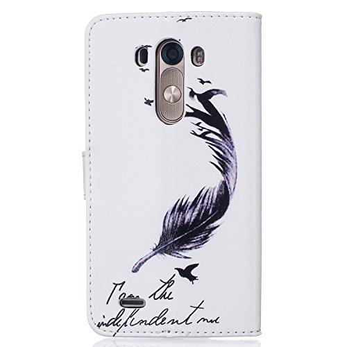 jawseu funda de piel blanca para LG G3, pluma funda de piel tipo libro para LG G3, elegante colorido patrón impresión retro Slim piel sintética carcasa con tapa magnético función atril tipo libro bols Flying Bird,Love