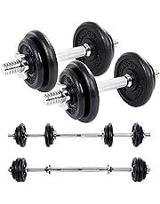 SONGMICS Halters, Gietijzeren Halterset, Verstelbaar, Halterset met Verbindingsbuis,voor Mannen en Vrouwen, Workout, Gewichtheffen voor Thuis, Gym