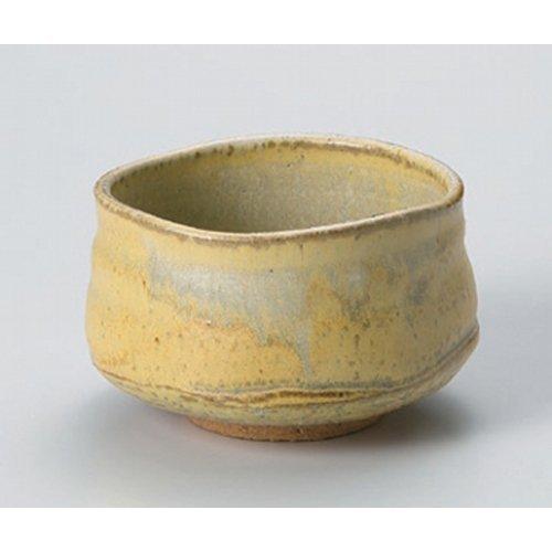 Matcha bowl yellow Karatsu flow tea bowl ( Hahako ) [11.8 x 7.9cm] Tsuchimono strengthening Japanese instrument Liquor restaurant for hotel business