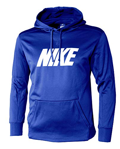 Nike Men's DRI FIT Training Hoodie Athletic Hoody, Game Royal/White, X-Large