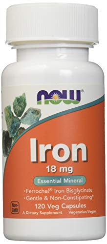 NOW Foods Iron Bisglycinate 18 mg Ferrochel -120 Vegi Caps