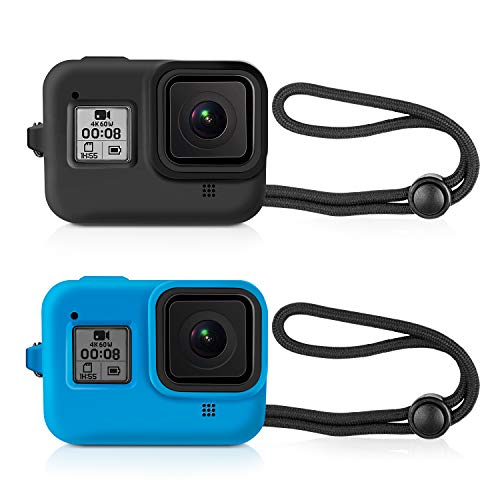 Kupton Protective Silicone Sleeve Cases + Lanyard for GoPro Hero 8 Black Accessories Soft Rubber Frame Cover Case Protection for Go Pro Hero8 Black Action Camera(Black + Blue)