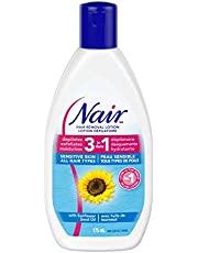 Nair 3-In-1 Hair Removal Lotion for Sensitive Skin with Sunflower Seed Oil and Green Tea Extract, 175-ml