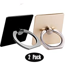 [2 Pack] Cell Phone Finger Kickstand Loop Mount Stent 360 degree Rotary Safe Hand Grip Universal,CaseHQ Ring Bracket for Iphone X 8 7 7Plus Samsung Galaxy S9 S9 plus S7 S8 LG HTC (Black+gold)