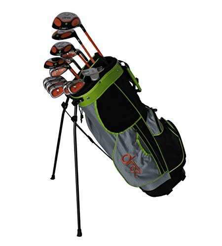 DROC - Dimond Series 13 Pcs Right Hand Golf Club Set & Golf Bag Age 11 - 14 (Orange_Black)