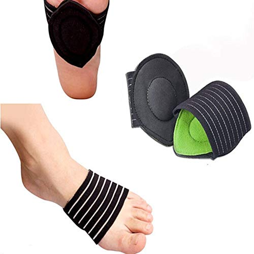 Cushioned Compression Arch Support Extra Thick with More Padded Comfort for Plantar Fasciitis, Fallen Arches, Heel Spurs, Flat and Achy Feet Problems- 1 Pair (for Men and Women)