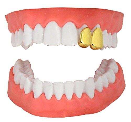 NewAgeBling 2 Teeth Cap Custom Fit 14k Gold