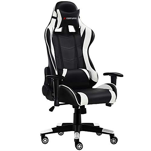 JL Comfurni Gaming Chair Racing Style Ergonomic Swivel Computer Office Chairs Adjustable Height Reclining High-Back with Lumbar Cushion Headrest Leather Chair (S06 - Black + White) ()