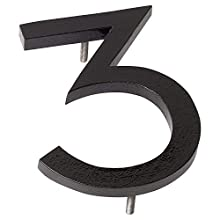 """Montague Metal Products MHN-06-3-F-BK1 Floating House Number, 6"""" x 4.5"""" x 0.31"""" Black"""