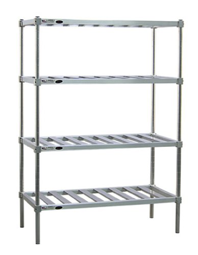 New Age P2448 Stationary 4-Tier Pot & Pan Rack 48''W x 24''D x 76''H with 900 lb Capacity