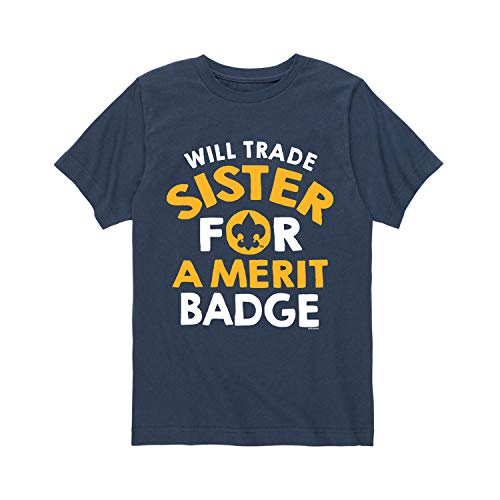 Youth Badge - Boy Scouts of America Will Trade Sister Merit Badge - Youth Short Sleeve Tee Navy