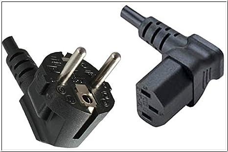3m Netzkabel Stecker 90° CEE 7//7 /> Buchse 90° C13 Kaltgeräteanschluss schwarz