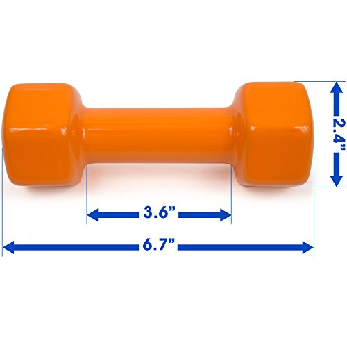 Yes4All Vinyl Coated Dumbbells - PVC Hand Weights for Total Body Workout (Set of 2, Orange, 4 lbs)
