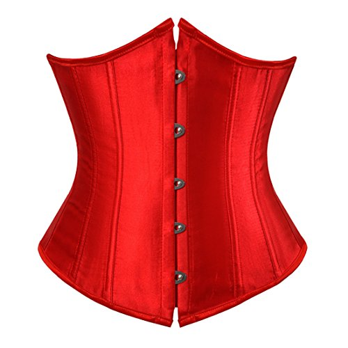 Zhitunemi Women's Satin Underbust Corset Bustier Waist Training Cincher Plus Size 2X-Large Red