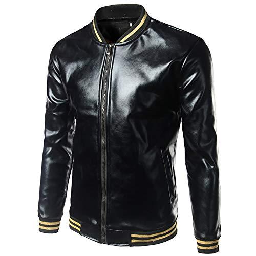 Ivan Johns Coats Silver Metallic Coated Jacket Men Spring Bomber Jackets Men Casual Slim Fit Shiny Jackets Black M