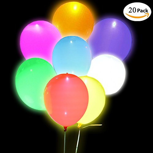 LED Light Up Balloons-Premium Quality Flashing LED Light Up Balloons, Mixed Color, for Parties,Birthday,Wedding Party,Lasts 8-24 Hours by (Lit Balloons)