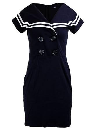 Short Sleeve Sailor Nautical Rockabilly Double Button Women's ...