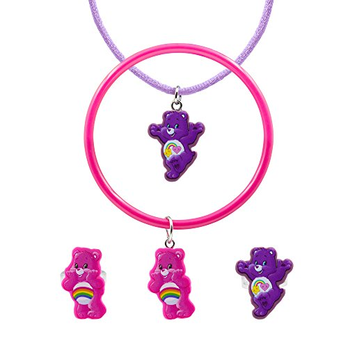 Care Bears 4 Piece Cutout Best Friend Pendant Cheer Bangle 2 Ring Jewelry Set