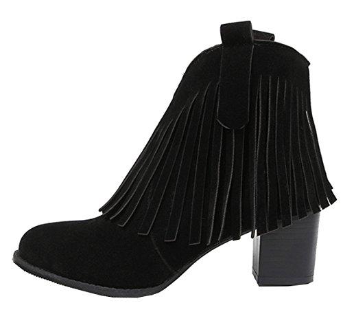 YE Damen Wildleder Spitze Chunky High Heels Stiefeletten mit Fransen und Blockabsatz 8cm Absatz Reißverschluss Ankle Boots Schwarz