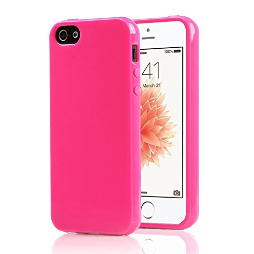 iPhone 5/5S Case, iPhone SE Case, FGA Sugar Candy Shockproof Anti-scratch Slim Fit Flexible Soft Solid Color TPU Gel Case Cover for Apple iPhone 5 5S SE (Hot Pink)