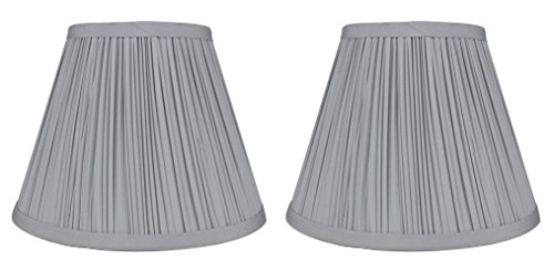 Urbanest Set of 2 Mushroom Pleated Softback Lamp Shades, Faux Silk, 5-inch by 9-inch by 7-inch, Silver, (Silver Lamp Shades)