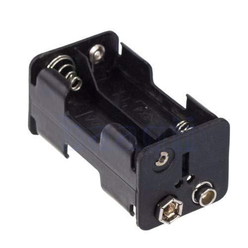 FidgetFidget Battery Grips 1Pcs 4 X AA Holder 6V DC Power Case W/ 9V Clip Black Plastic MA