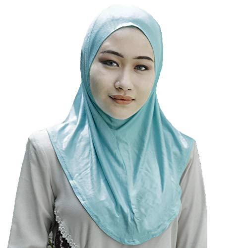 Silk Story One piece al amira Hijab Instant Head Scarf Cotton Lycra (M Size) (Light Sea Green) ()