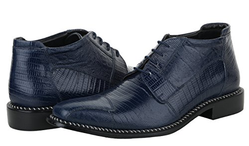 Liberty Men's Leather Ankle High Top Lizard Print Lace Up Dress Shoes Navy Blue shop for cheap online outlet in China jEGqkk9N