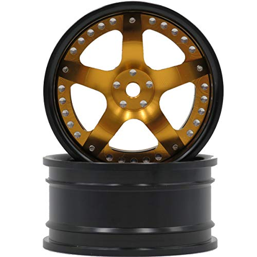 hobbysoul 2pcs RC 1/10 Aluminum Alloy Wheel Rims Hex 12mm Adjustable Offset Gold & Black Color Fit 1:10 RC On Road Drift Touring Car Tires ()