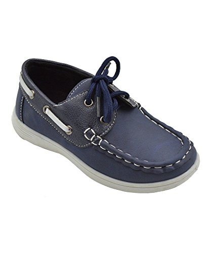 (coXist Boy's Suede PU Boat Shoe (Big Kid/Little Kid/Toddler) in Navy Size: 10 Toddler)