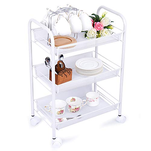 H&B Luxuries 3-Tier Mesh Wire Rolling Kitchen Storage Carts on Wheels, Easy Moving Storage Rack, - Carts Wire Mesh