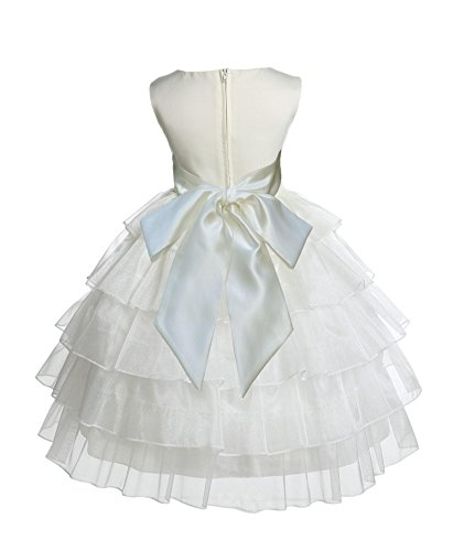 Wedding Pageant Ivory Tired Organza Flower Girl Dress Bridesmaid Toddler Easter Recital 308s -