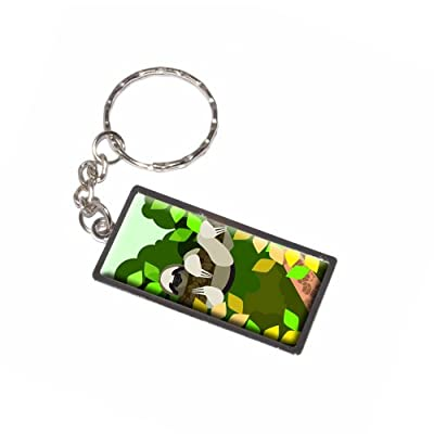 Graphics And More Geometric Sloth Yellow Keychain Ring (K6265) - 0095614476907