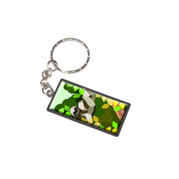 Graphics And More Geometric Sloth Yellow Keychain Ring (K6265) -