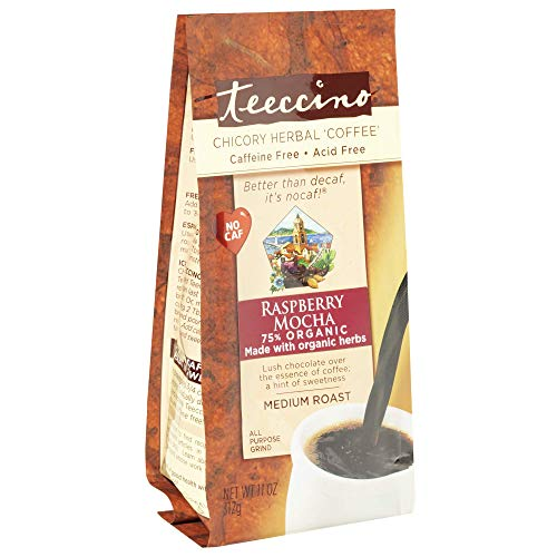 Teeccino Chicory Coffee Alternative – Raspberry Mocha – Ground Herbal Coffee That's Prebiotic, Caffeine Free & Acid Free…