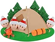 Christmas Tree Ornaments - Personalized Outdor Tent Christmas Tree Decorations Family of 2 3 4 5 6 Xmas Decora