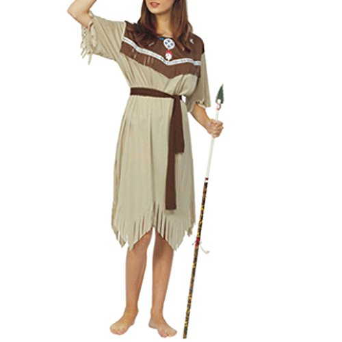 LETSQK Adult Indian Halloween Brave Native American Halloween Costume With Headband women (Peter Pan Costume Men)