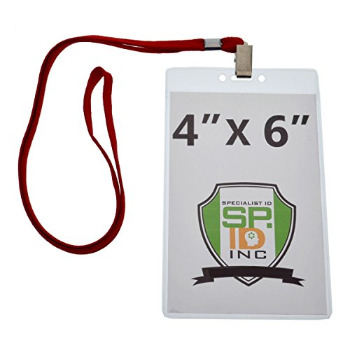 4X6 Inch Extra Large Badge & Credential Holders (Pack of 10) with Lanyards by Specialist ID (Red) (Holder Ticket Red)