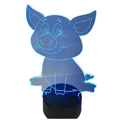 Lovely Cute Pig Night Light Pig 3D lamp Bulbing Touch Switch Colorful Desk 7 Colors Change USB Table Desk Nightlight