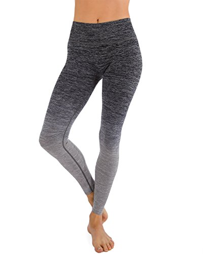 Homma Ultimate Stretch Comfort Moisture Whicking Women's Ombre Yoga Running Workout Leggings (LARGE, Black/L.Grey)